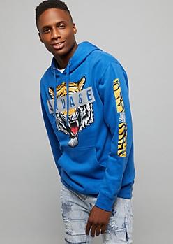 Royal Blue Savage Tiger Pullover Hoodie