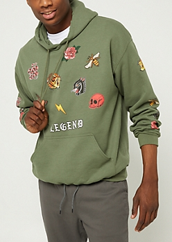 Olive Legend Patch Pullover Hoodie