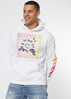 White Bandana Ombre Rose Graphic Hoodie