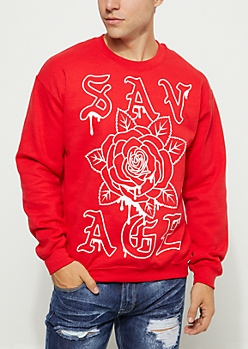 Red Savage Rose Drip Sweatshirt