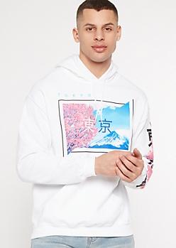 White Tokyo Cherry Blossom Kanji Graphic Hoodie