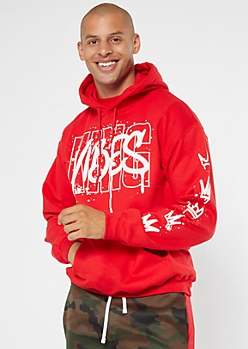 Red King Vibes Graffiti Graphic Hoodie