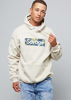 Sand Floral Print Savage Pullover Fleece Hoodie