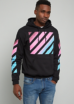 Black Striped Ombre Print Graphic Hoodie