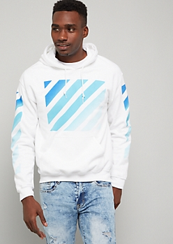 White Striped Ombre Print Graphic Hoodie