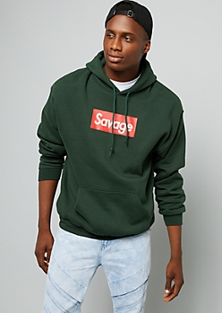 Dark Green Savage Graphic Hoodie