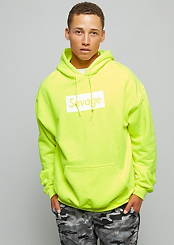 Neon Yellow Savage Graphic Hoodie
