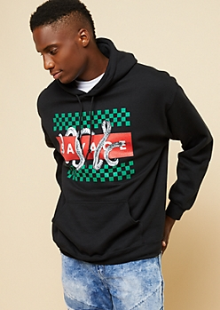 Black Checkered Savage Snake Graphic Hoodie
