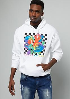 White Rainbow Rose Checkered Print Graphic Hoodie