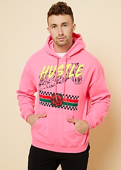 Neon Pink Hustle Tiger Graphic Hoodie