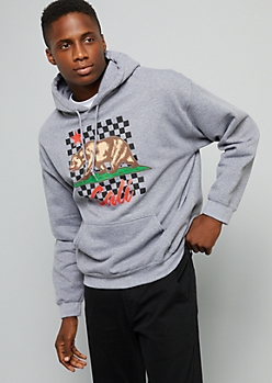 Gray Checkered California Bear Hoodie