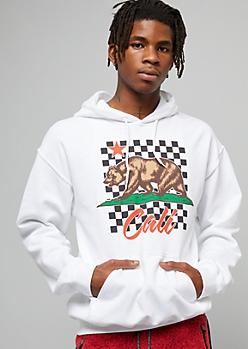 White Checkered Print California Bear Graphic Hoodie