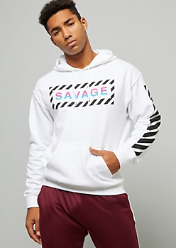 White Ombre Savage Side Striped Graphic Hoodie