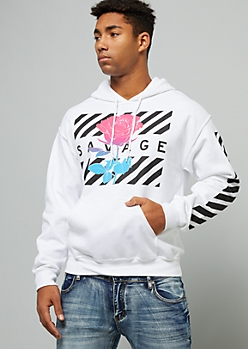 White Savage Striped Ombre Rose Graphic Hoodie