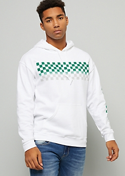 White Ombre Checkered Print Graphic Hoodie