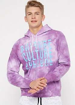Purple Tie Dye Culture Graphic Hoodie