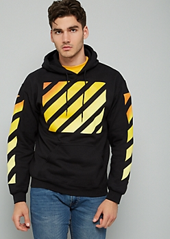 Black Striped Orange Ombre Print Graphic Hoodie