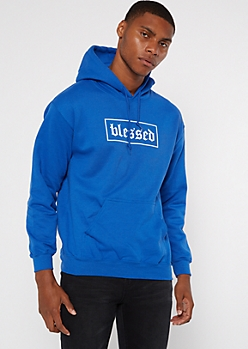 Royal Blue Blessed Embroidered Hoodie