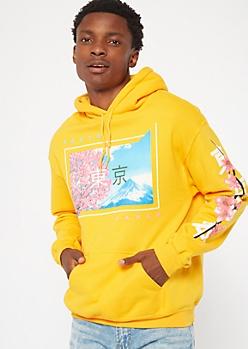 Yellow Cherry Blossom Tokyo Graphic Hoodie