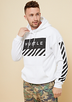 White Hustle Box Fleece Hoodie