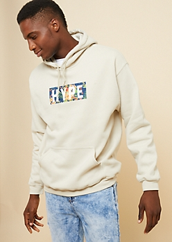 Sand Hype Floral Print Graphic Fleece Hoodie