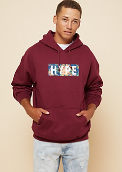 Burgundy Hype Floral Print Graphic Fleece Hoodie