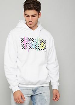 White Checkered Print Rainbow Hustle Hoodie