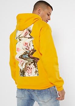 Yellow Distorted Rose Kanji Graphic Hoodie