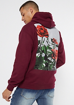 Burgundy Culture Rose Graphic Hoodie