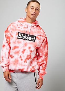 Red Tie Dye Blessed Graphic Hoodie