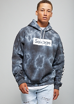 Black Tie Dye Savage Checkered Print Sleeve Graphic Hoodie