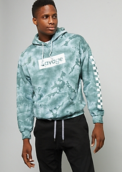 Slate Green Tie Dye Savage Checkered Print Sleeve Graphic Hoodie