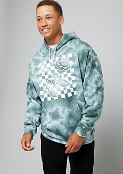 Slate Green Tie Dye Checkered Print Rose Graphic Hoodie