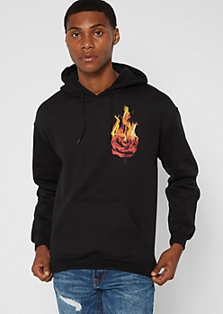 Black Flaming Rose Hoodie