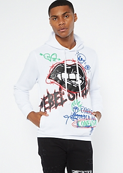 White Rebel Bite Faux Leather Patch Hoodie