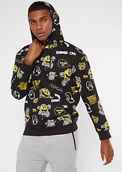 Black Pac-Man Graffiti Hoodie