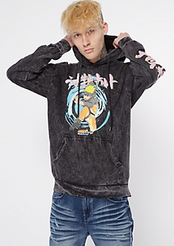 Dark Gray Acid Wash Naruto Kanji Graphic Hoodie