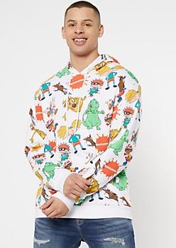 White Nickelodeon Toon Graphic Hoodie