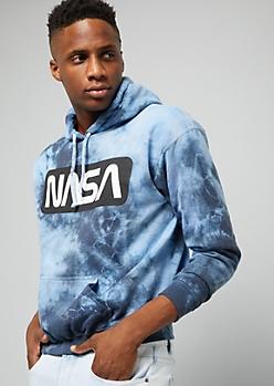 Navy NASA Tie Dye Fleece Graphic Hoodie