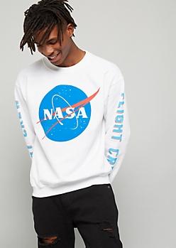 White NASA Flight Crew Fleece Graphic Sweatshirt