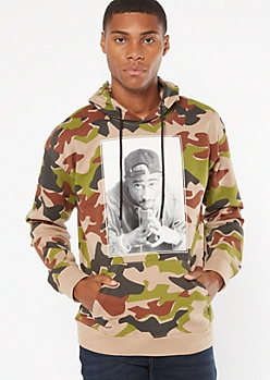 Camo Print Tupac Picture Graphic Hoodie