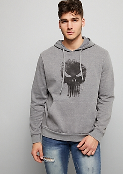 Heather Gray Punisher Fleece Graphic Hoodie