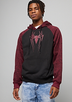 Black Spider Man Space Dye Raglan Graphic Hoodie