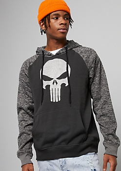 Black Punisher Space Dye Raglan Graphic Hoodie