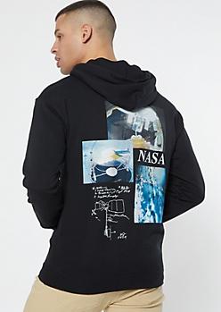 Black NASA Globe Graphic Hoodie
