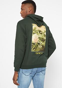 Green Kanji Rose Graphic Hoodie