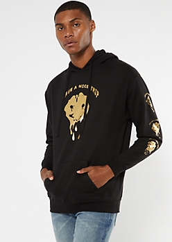 Black Gold Foil Drippy Smiley Hoodie