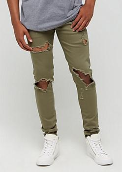 Olive Destroyed Skinny Jeans