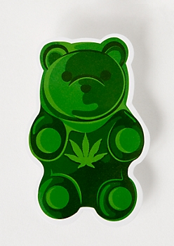 Green Weed Print Gummy Bear Sticker