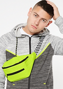 Neon Green Checkered Print Fanny Pack
